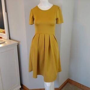 Womens XS LuLaRoe dress short sleeve mustard yello